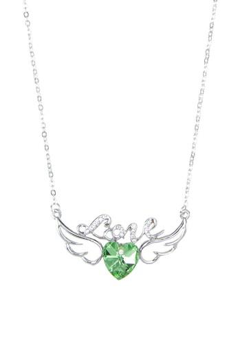 Eden 文字心形翅膀吊esprit outlet 香港飾項鍊, 飾品配件, 項鍊