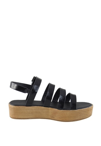 London Rag black Black Multi Strap Platform Sandals A5029SHD119840GS_1