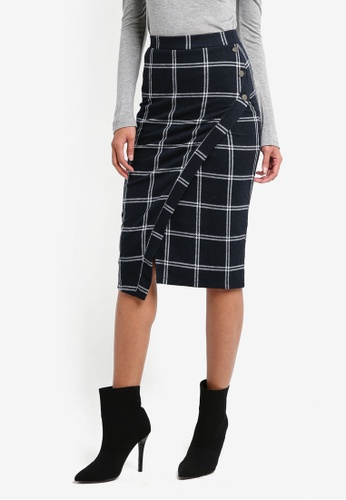 River Island navy Check Wrap Front Pencil Skirt 1446BAAD1C6654GS_1