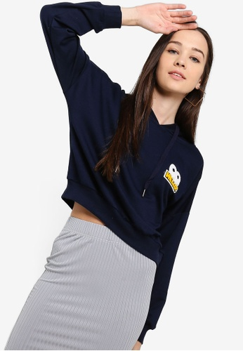 Something Borrowed navy Cropped Hoodie With Patch E40F0AA121A74AGS_1