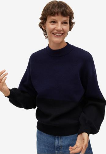 Mango blue Puffed Sleeves Sweater B861AAA1808E20GS_1