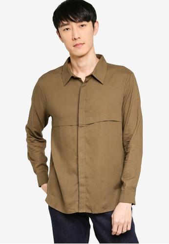 ZALORA BASICS green Front Panelling Long Sleeve Shirt 570D4AAF28741FGS_1