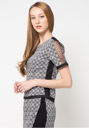 Bateeq black Short Sleeve Cotton Print Blouse BA656AA47WQQID_1