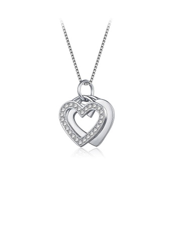 Glamorousky white 925 Sterling Silver Valentine's Day Double Heart Pendant with Necklace A0D84AC0086F9FGS_1