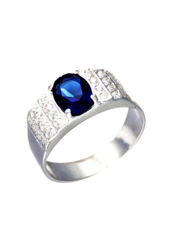 Elfi blue Elfi 925 Genuine 925 Silver Men Ring R19 - Blue Sapphire EL186AC66JMVMY_1