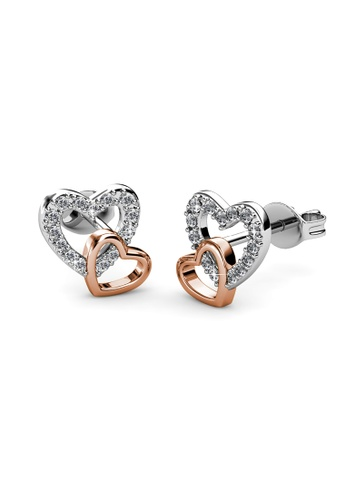 Her Jewellery multi Swarovski® Crystals - Love with Rose Gold Earrings (18K White Gold & Rose Gold Plated) Her Jewellery HE581AC0RDH8MY_1