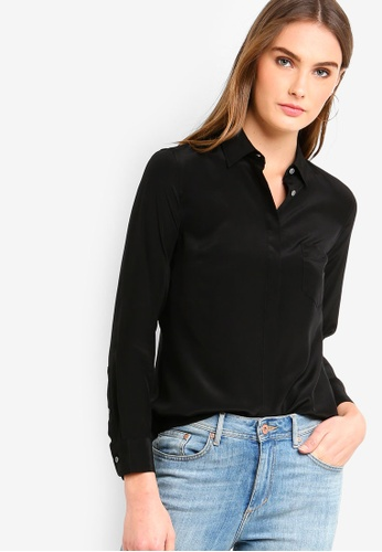 J.Crew black Silk Button-Up Shirt 08F73AA47E543DGS_1
