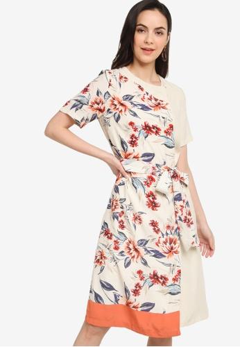 French Connection white Claribel Drape Print Mix Dress BB3BFAAE193383GS_1