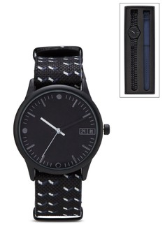 Geometric Print Duo Strap Watch Set