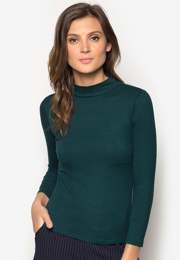 Ribbed Turtle Neck Long Sleeves