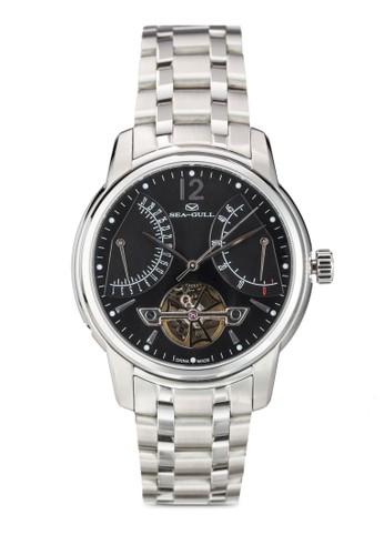 Seagull 816.426(ST2zalora 手錶505 機械機芯) 41mm  黑錶盤不銹鋼鏤空圓錶, 錶類, 飾品配件