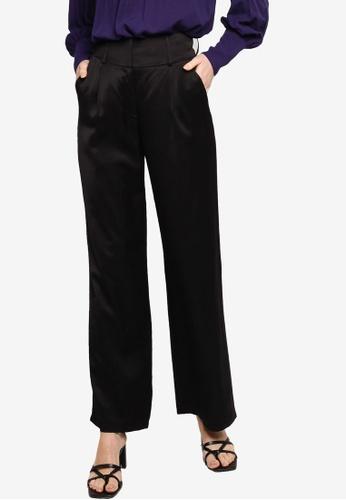 ZALIA BASICS black High Waisted Flowy Trousers C912DAAC193610GS_1