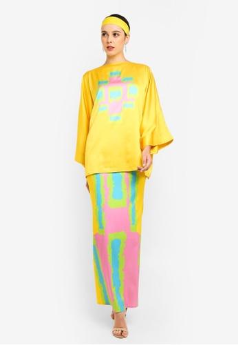 Tom Abang Saufi for ZALORA yellow Flores Kimono Kurung 54868AA518AE8FGS_1