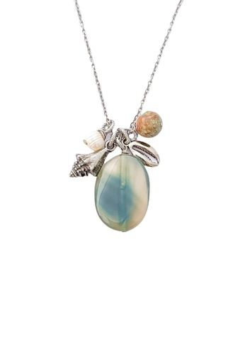 Trinkets for Keeps silver Agate Stone Stainless Steel Necklace CC66CACC28E38CGS_1