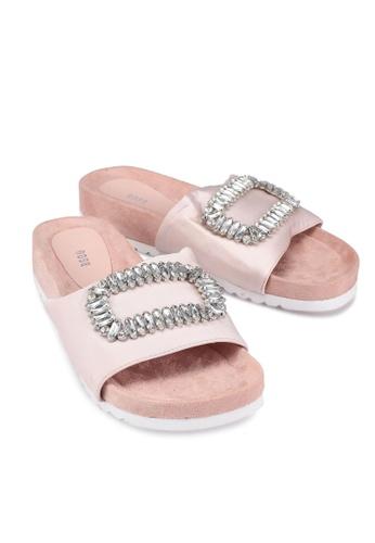 separation shoes 6f58d 4fef0 Diamond Buckle Flat Slides