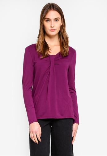 ESPRIT purple Gathered Neckline Top A1F6CAA3B82BD0GS_1