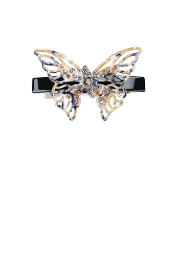 Glamorousky gold Fashion and Elegant Hollow Butterfly Dark Hair Slide with Champagne Cubic Zirconia 04668AC1D0F0BAGS_1