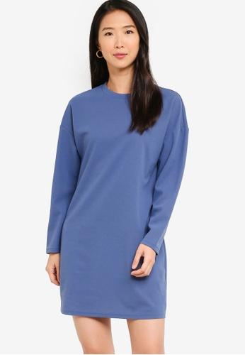 ZALORA BASICS 藍色 Mini Sweatshirt 洋裝 24EEBAA9C5CEC0GS_1