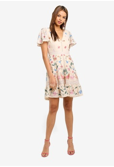 e89143f3d698 50% OFF Miss Selfridge Nude Embroidered Mini Skate Dress RM 599.00 NOW RM  299.50 Sizes 6 8