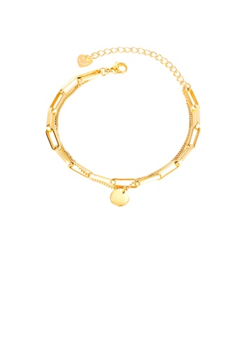 Glamorousky silver Simple and Fashion Plated Gold Geometric Round 316L Stainless Steel Bracelet 4F448AC0E9D7B7GS_1