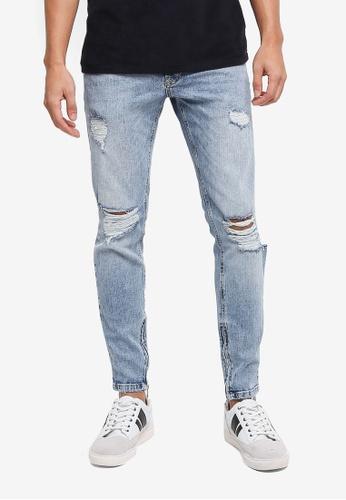 Topman blue Acid Wash Skinny Ripped Jeans E111BAA0025BA8GS_1