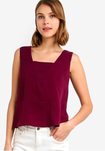 ZALORA 紫色 無袖荷葉飾上衣 E4016AA3C9C3CAGS_1