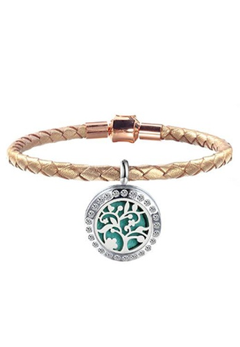 YOUNIQ YOUNIQ 316L Stainless Steel Silver Aroma Oil Perfume Magnet Leather Braid Bracelet Rosegold 0910DACD4BB1A1GS_1