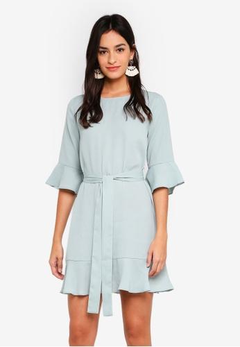 ZALORA green Ruffles Dress with Waist Tie 75BAFAA20D0444GS_1