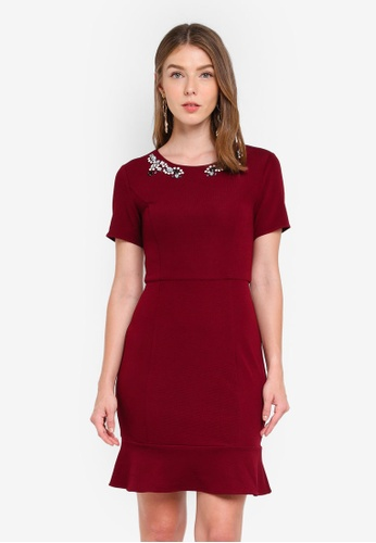 ZALORA red Front Embellished Fluted Hem Dress 3A882AA5A47D54GS_1