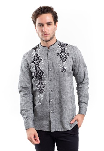 MANLY grey Ayyuub Grey Slim Fit Combination Shirt 4F209AA3ABE21FGS_1