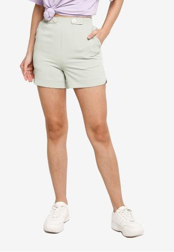 Hopeshow green High Waist Side Slit Hem Chiffon Shorts 64312AA6799C06GS_1