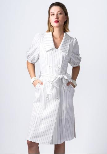 VIOLA white SQUARE-COLLAR STRIPED DRESS 7D4EBAA8806236GS_1