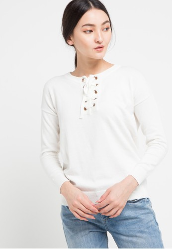 Miyoshi Josei white and multi Blouse Flatknit White ADD86AAEB90B84GS_1