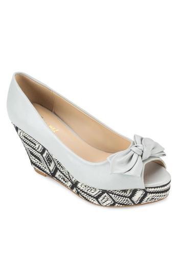 蝴蝶結露趾esprit香港門市印花楔型鞋, 女鞋, 魚口楔形鞋