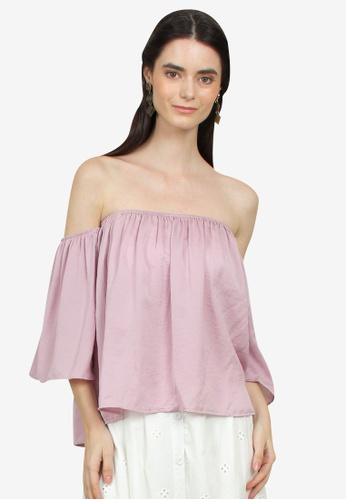 Caoros pink Off Shoulder Top 8DDA9AAF8B510AGS_1