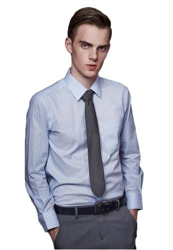 Life8 blue Stripe Jacquard Business Shirt-11040-Blue LI283AA53EKWSG_1