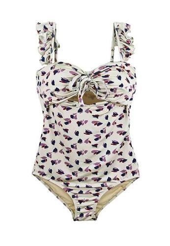 ZITIQUE beige Women's Retro Ruffled One-piece Swimsuit - Beige ECC35USC8D5217GS_1