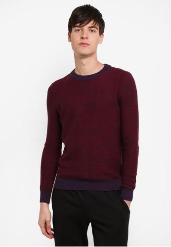 Topman 紅色 Textured 毛衣 TO413AA0RXUBMY_1
