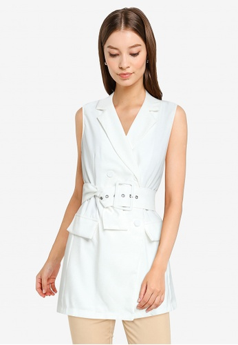 ZALORA WORK white Double Breasted Longline Vest 06C3EAA1E68064GS_1