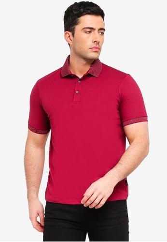 Burton Menswear London red Raspberry Pink Jacquard Collar Polo Shirt 6B4A2AA487480FGS_1