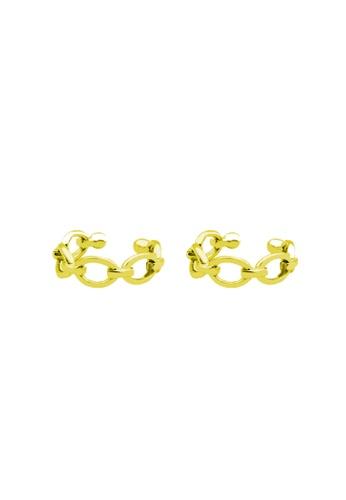 LYCKA 金色 LDR9121 S925純銀 鏈型耳夾 0772FAC71FE7B7GS_1