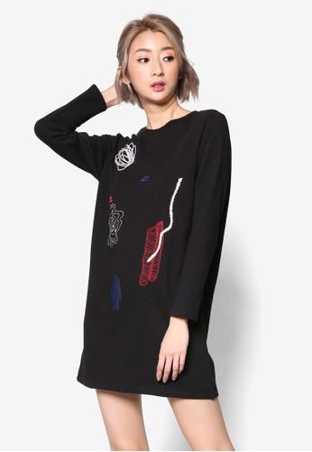 LOVE 刺繡zalora 鞋評價圖案連身裙, 服飾, 洋裝