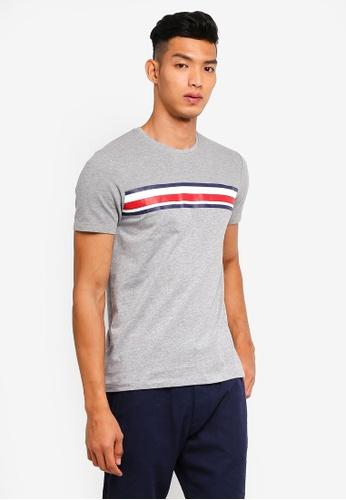 ESPRIT 灰色 短袖條紋T恤 5F751AA97D1F3BGS_1