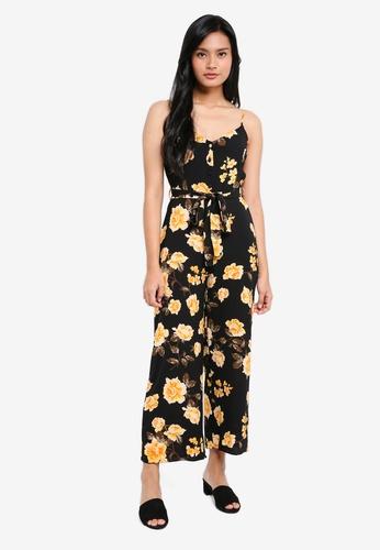 Miss Selfridge black Petite Floral Culotte Jumpsuit 9851EAAC38E96DGS_1