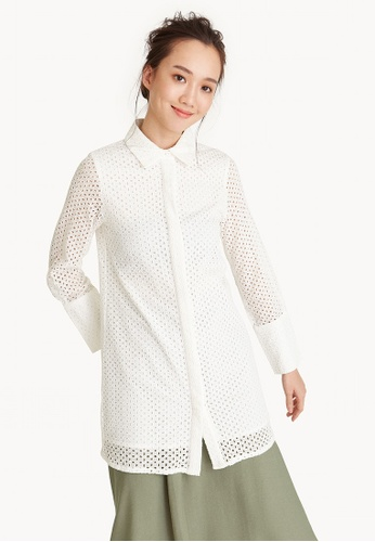 Pomelo white Long Sleeve Eyelet Shirt 693CFAA9E4B457GS_1