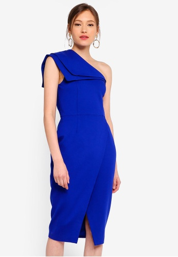 Lavish Alice blue Double Layer One Shoulder Wrap Midi Dress E6F1FAAF17F0D7GS_1