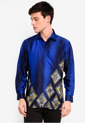 c52bee972cc0 Gene Martino blue Men's Batik Diamond Shapes Shirt F1AC6AAB955179GS_1.  CLICK TO ZOOM