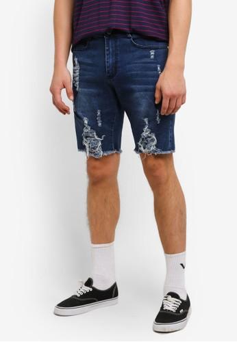 Flesh Imp blue Distressed Cooper Denim Shorts FL064AA0RTP5MY_1