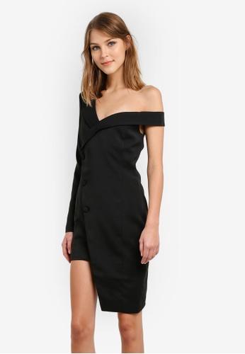 Lavish Alice black Asymmetric Tuxedo Dress LA457AA0SANOMY_1
