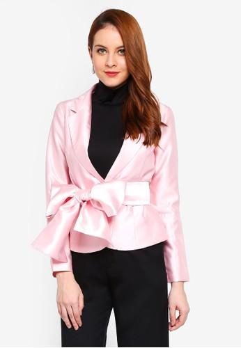 Lubna pink Ribbon Tie Jacket 9F9FEAA20B70ECGS_1